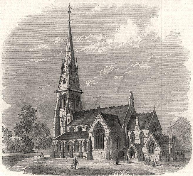 Associate Product New congregational church at Lewisham, Surrey. London, antique print, 1861