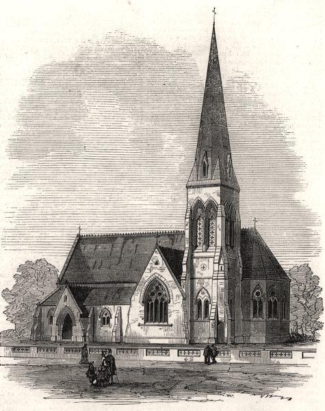 Associate Product Church of St. John the Evangelist, Kingston-on-Thames. London, old print, 1873