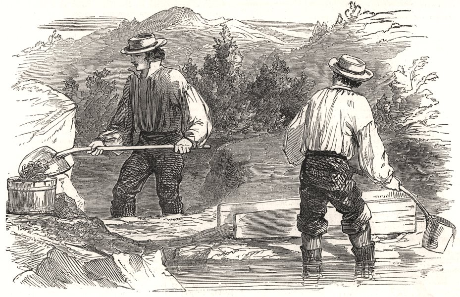 Associate Product Gold washing at the diggings. California, antique print, 1849