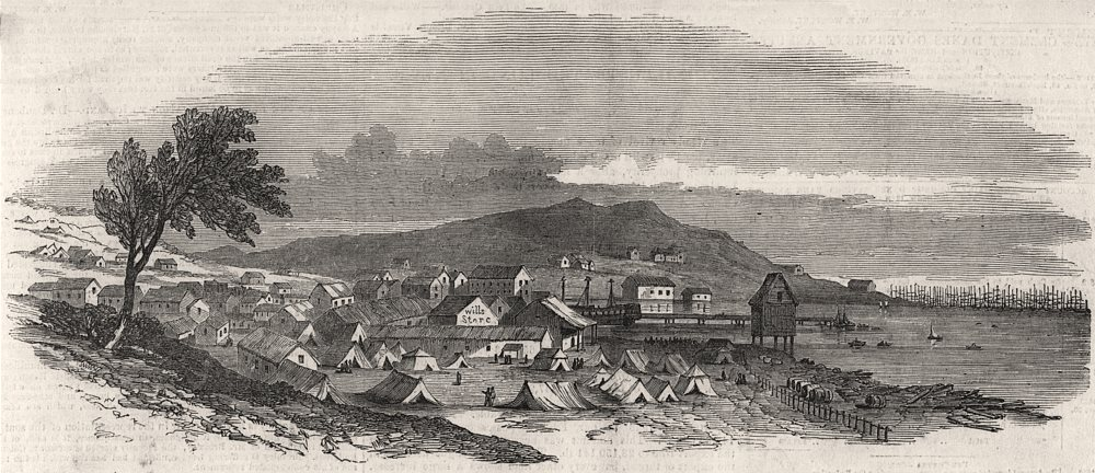 Associate Product San Francisco, from the south west. California, antique print, 1850