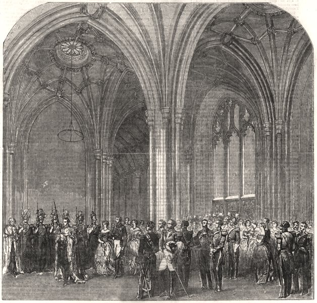 Associate Product Opening of Parliament. Norman Porch. Queen Victoria going to robing-room, 1854