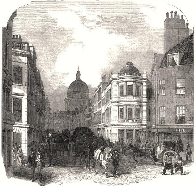 Associate Product City improvements - Cannon-Street West. London, antique print, 1854
