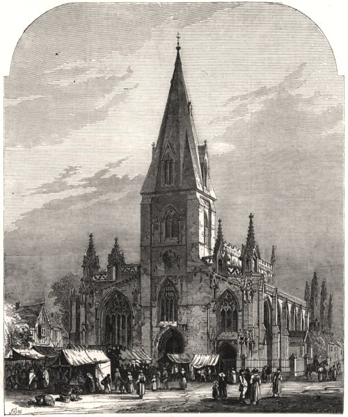 Associate Product Sleaford Church & Market-Place. Lincolnshire, antique print, 1857