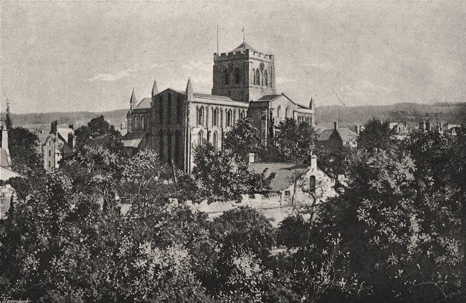 Hexham Abbey, Northumberland, antique print, 1895