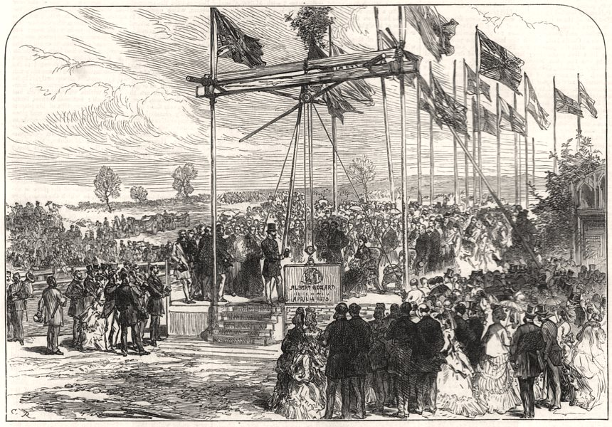Associate Product Prince of Wales laying the keystone of the Norfolk County school at Elmham, 1873