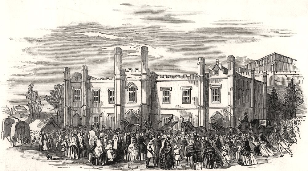 Associate Product Exterior of the court at Norwich. Norfolk, antique print, 1849