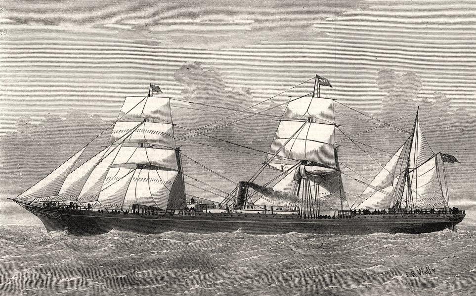 Associate Product The St. Osyth, of the Orient Line from London to Australia, antique print, 1874