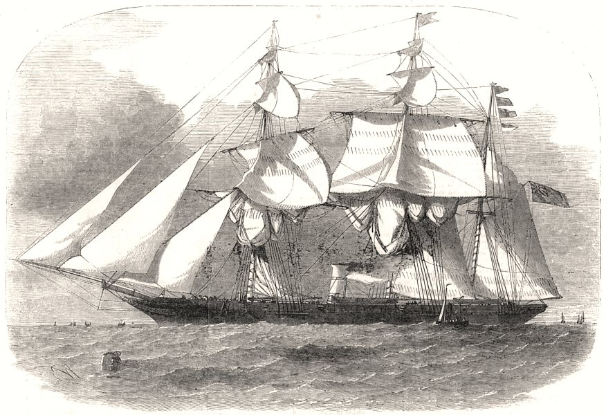 """Associate Product The new colonial steam war-Sloop """" Victoria """". Militaria, antique print, 1855"""