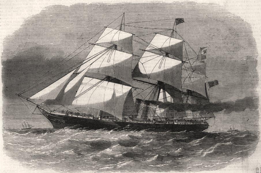 "Associate Product The screw steam-ship "" Australasian "". Ships, antique print, 1857"