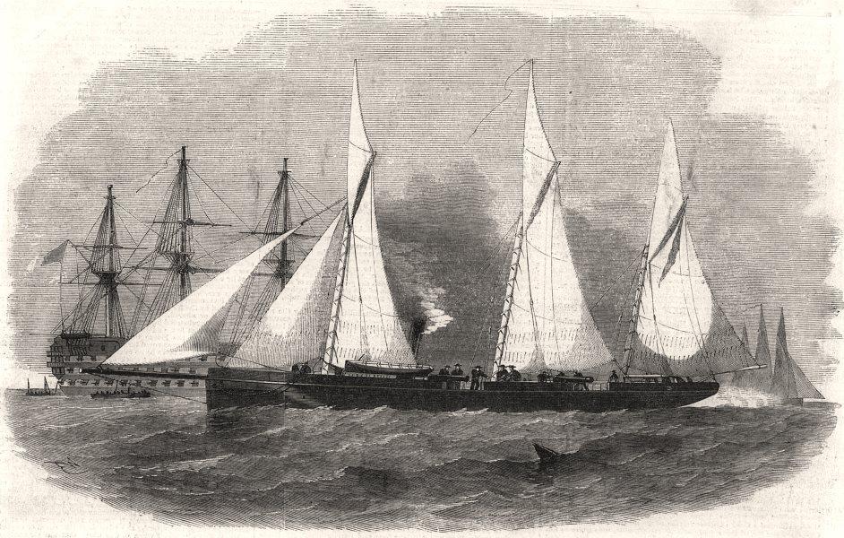 H. M. light-draught screw tenders (gun-boats) . Militaria, antique print, 1855