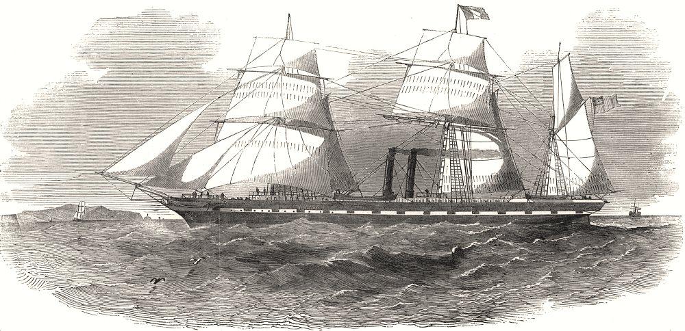 "Associate Product "" The Antelope "" Australian screw steam-ship. Antelopes, antique print, 1853"