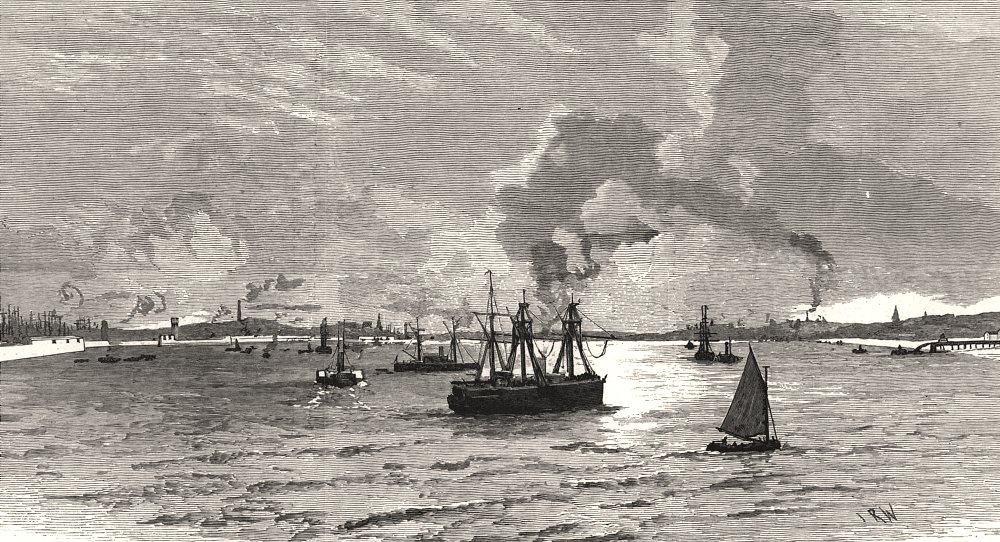 Associate Product The naval manoeuvres: The mouth of the Mersey. Lancashire, antique print, 1887