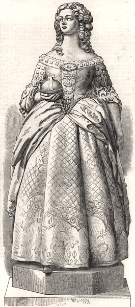 Associate Product Statue of Queen Mary II. by A. Munro, In Westminster Hall. London, print, 1869