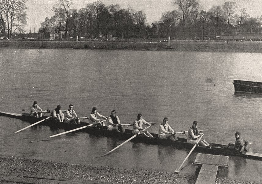 The Oxford and Cambridge boat race: Putting off. London, antique print, 1893