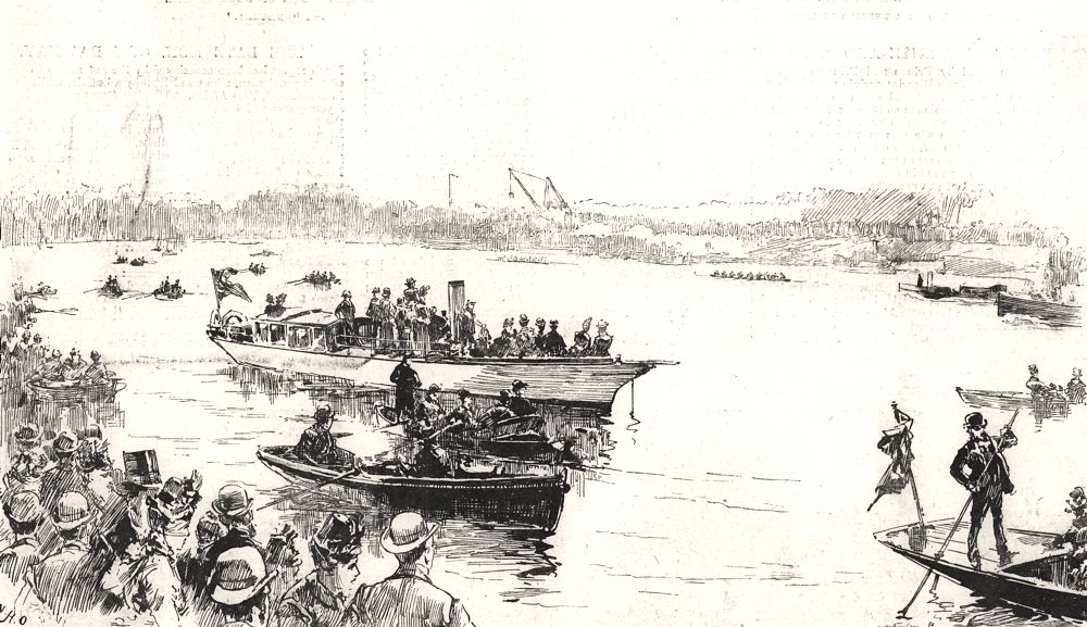 """Associate Product The finish of the boat-race at Mortlake: """" Cambridge Wins """". London, print, 1889"""