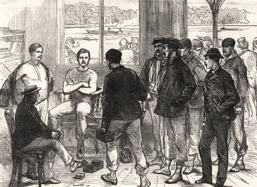 Associate Product The Universities' boat-race on the Thames: weighing the crew. London, 1874