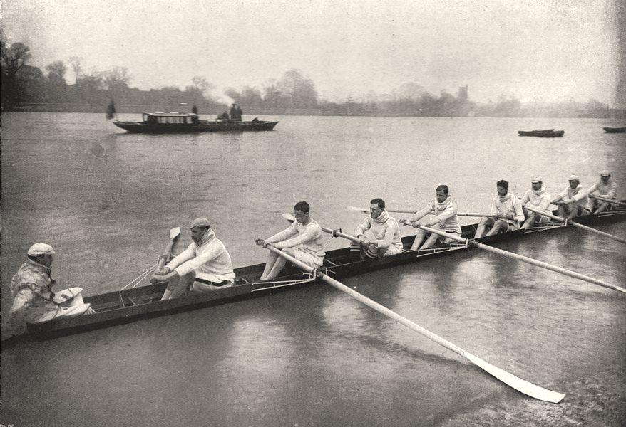 Associate Product The Oxford and Cambridge boat race: Cambridge. Cambridgeshire, old print, 1897