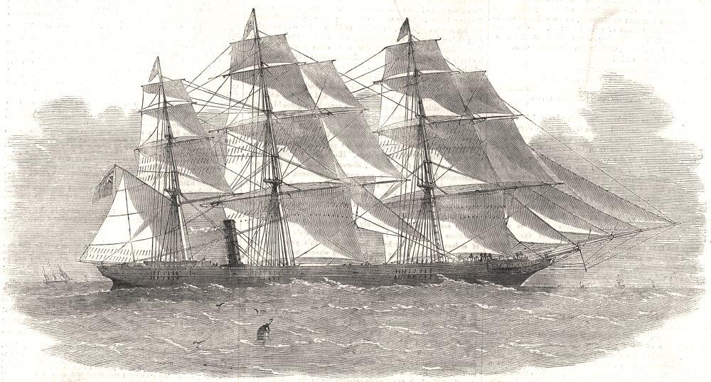 "Associate Product The new screw clipper-ship "" Khersonese "". Ships, antique print, 1855"