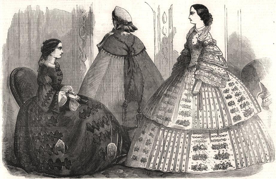 Associate Product Fashions for April, antique print, 1858