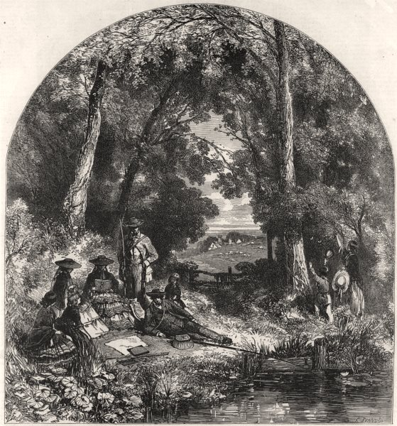 Associate Product The river side. Landscapes, antique print, 1856