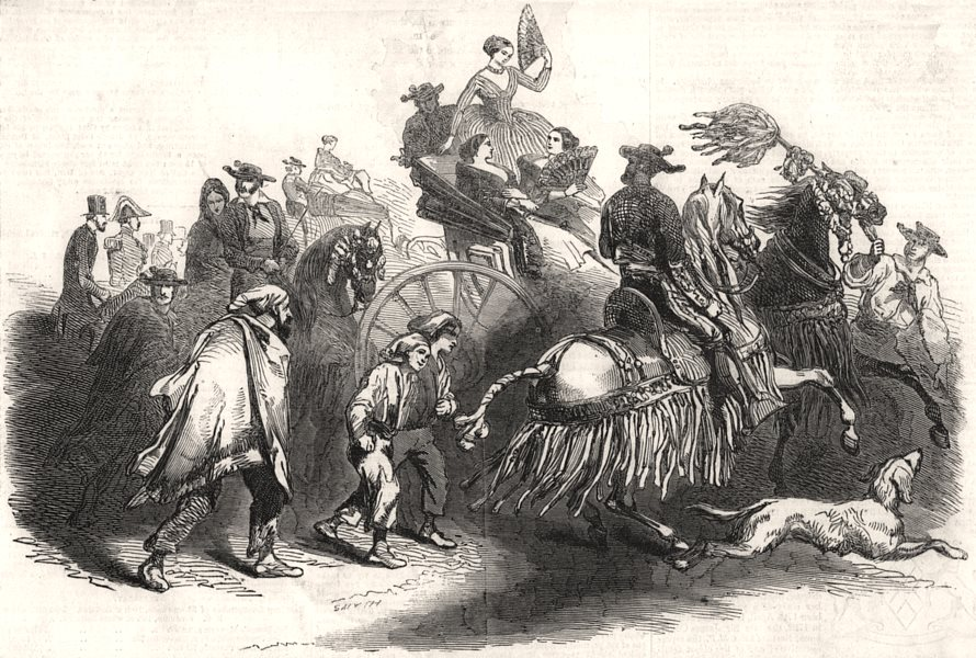 Associate Product Going to the bull-fight. Spain, antique print, 1846