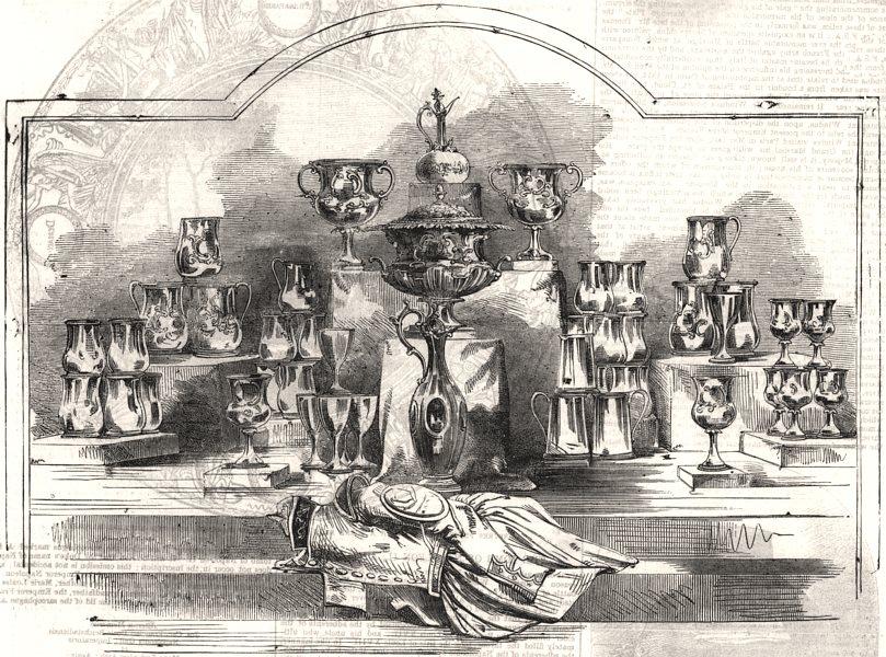 Associate Product The Royal Thames Regatta prize plate. London, antique print, 1855