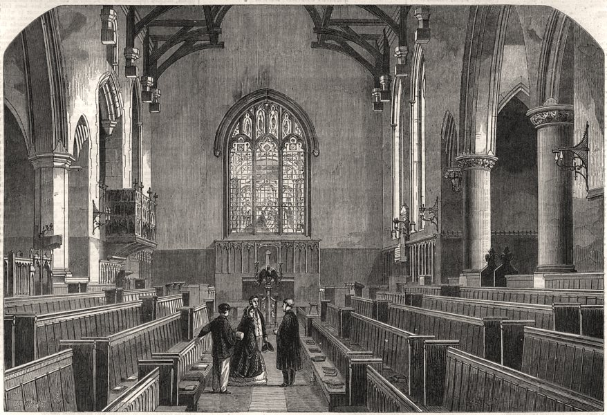 Associate Product The chapel at Rugby school. Warwickshire, antique print, 1862