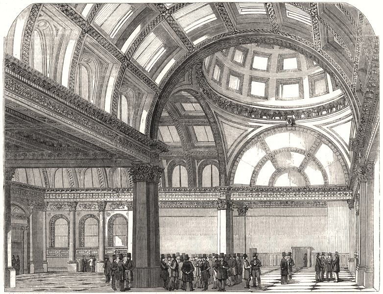 Associate Product The New London Stock Exchange, antique print, 1854