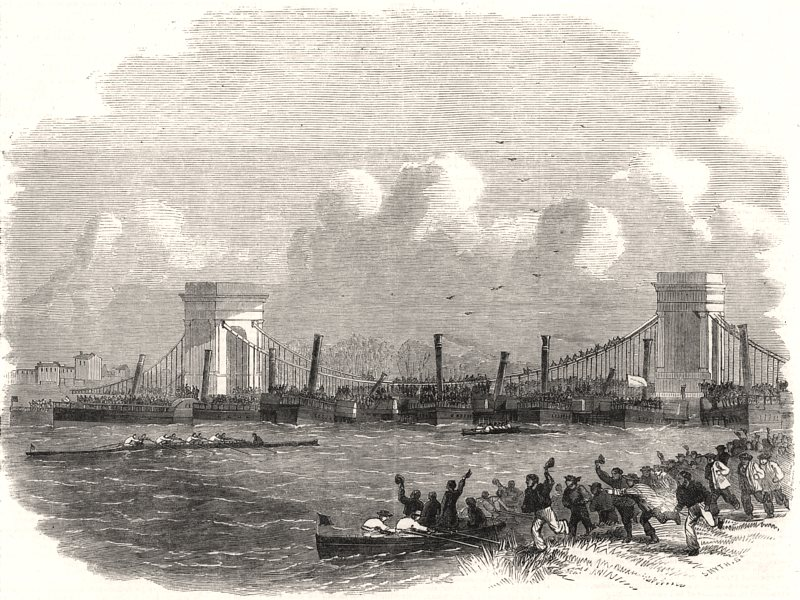Associate Product The Oxford and Cambridge boat-race. London, antique print, 1858
