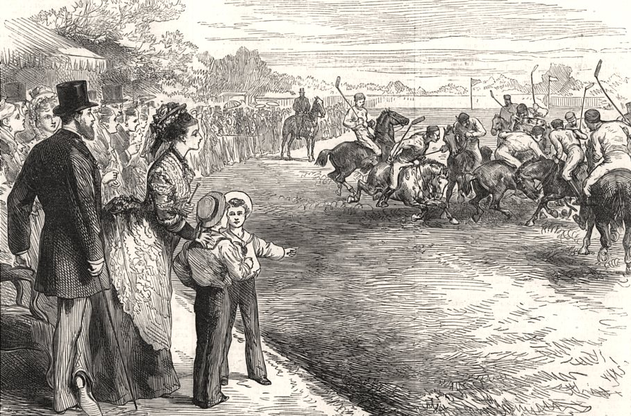 Associate Product Polo at Hurlingham before the Prince and Princess Of Wales. London, print, 1875