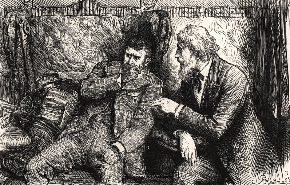 Associate Product Mr Vellumson upsets the Duke in a railway carriage, antique print, 1880