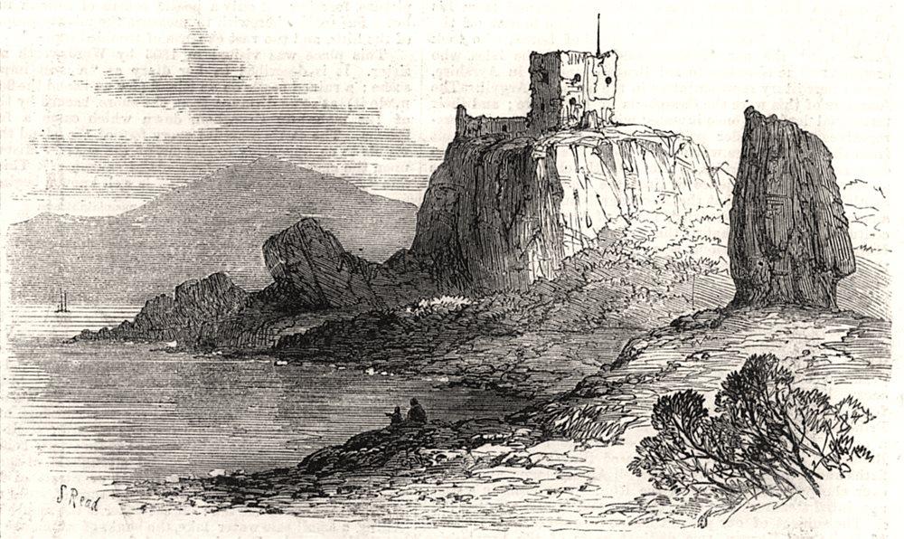 Associate Product Dunollie castle. Scotland, antique print, 1871