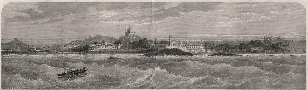 Associate Product The Gold Coast (Ghana) : Panoramic view of Cape Coast Castle. Ghana, print, 1874