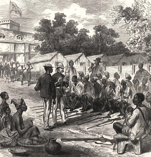Associate Product The Ashanti war: arrivals at the north gate, Coast Castle. Ghana, print, 1874