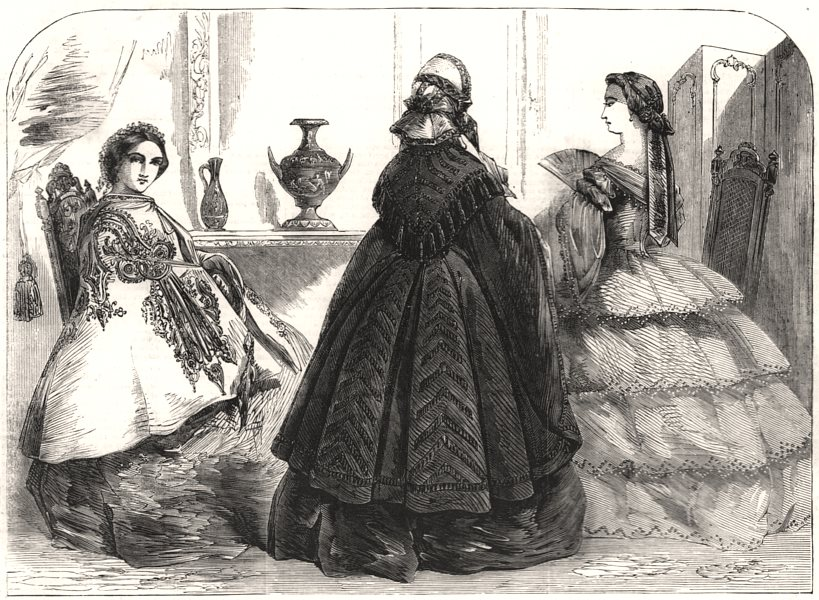 Associate Product Fashions for the new year, antique print, 1858