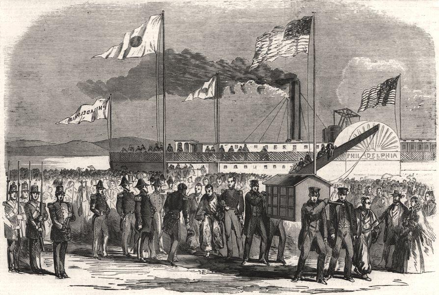 Associate Product Arrival of the Japanese Embassy at Washington. Washington DC, old print, 1860