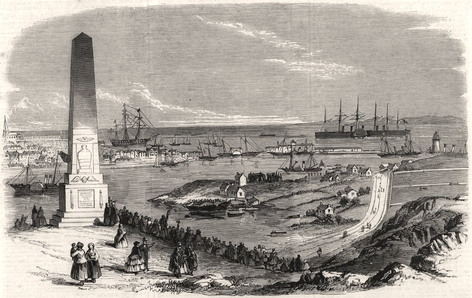 """Associate Product Arrival of the """" Great Eastern """" great ship at Holyhead. Wales, old print, 1859"""