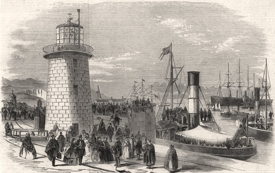 """Associate Product The """" Great Eastern """" at Holyhead: Holyhead Pier & visitors, antique print, 1859"""