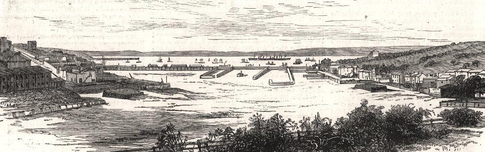 Associate Product Milford Haven, looking towards Pembroke Dock. Wales, antique print, 1882
