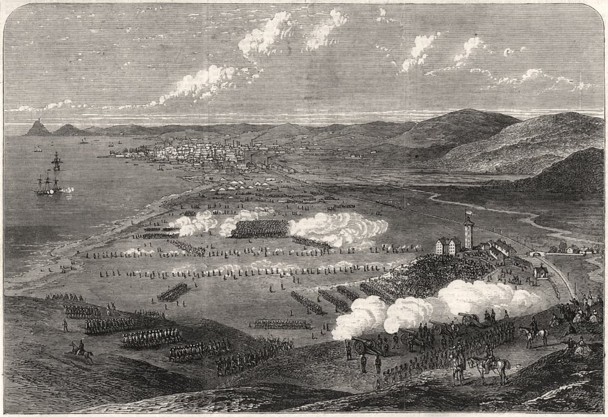 Associate Product Review of South Wales Volunteers on the Crumlin Burrows, Swansea, print, 1867