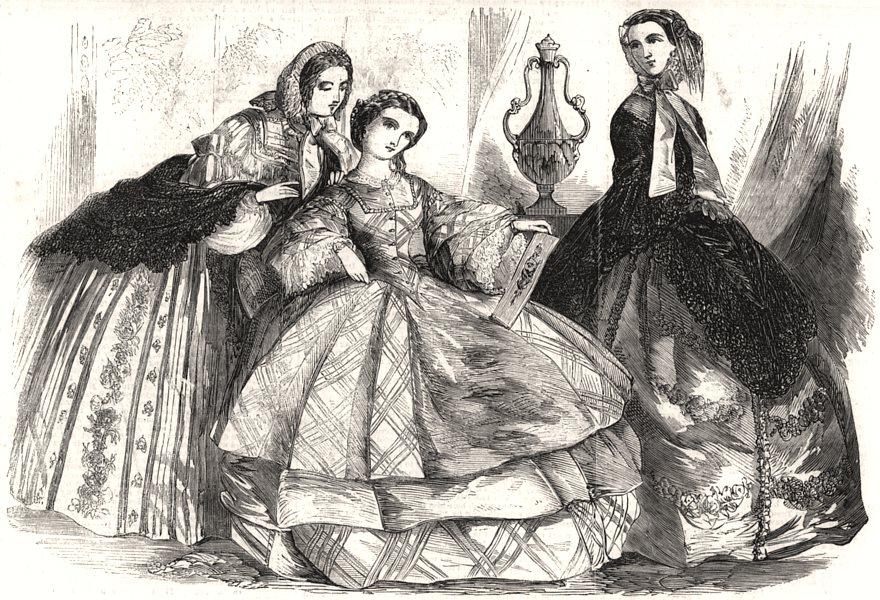 Associate Product Fashions for June, antique print, 1858