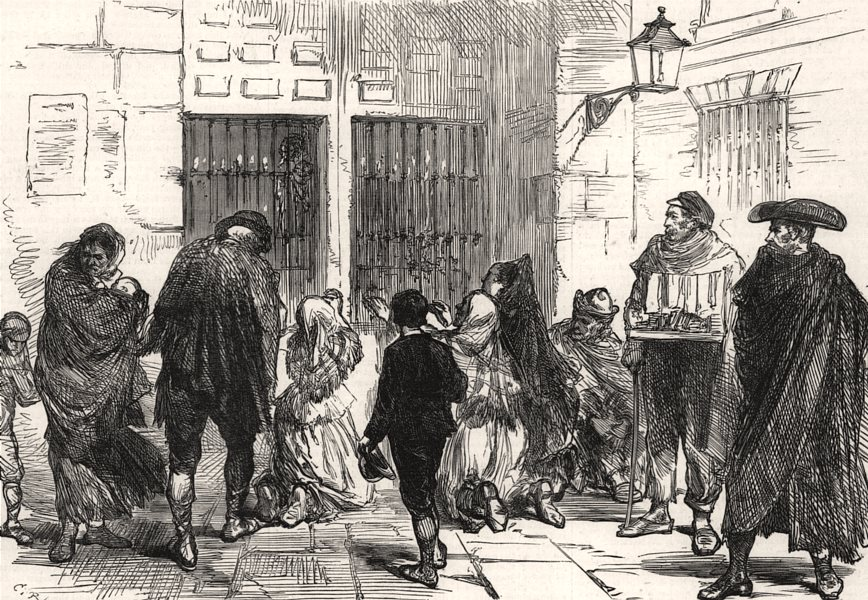 Associate Product Madrid: Praying to the Virgin in the streets of Madrid. Spain, old print, 1875