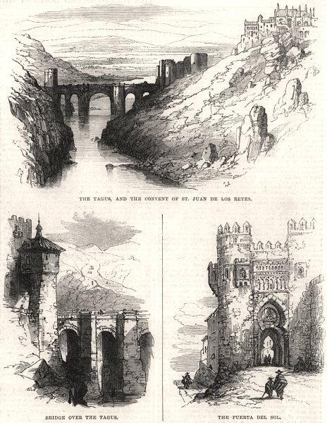 Associate Product Toledo: Tagus bridge. San Juan de Los Reyes convent. Puerta del Sol. Spain, 1865