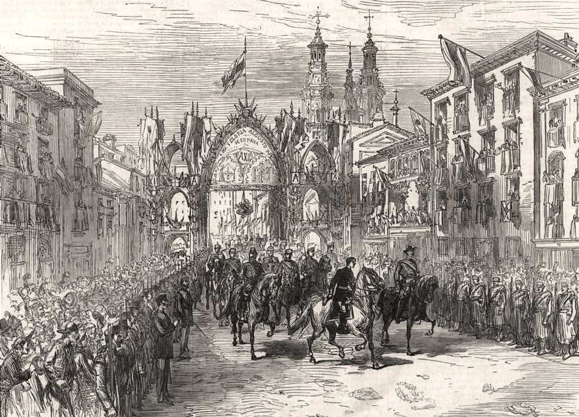 Associate Product Spanish civil war: The King entering Logrono on his return from the army, 1875
