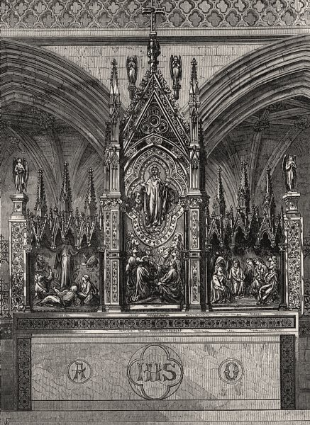 Associate Product The new reredos in Exeter Cathedral. Devon, antique print, 1874
