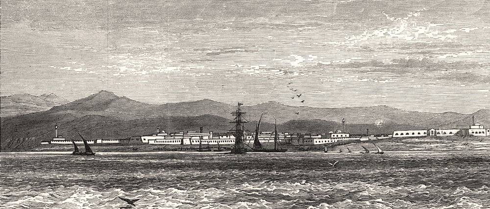 Associate Product Biserta, Tunis, occupied by a French Garrison. Tunisia, antique print, 1881