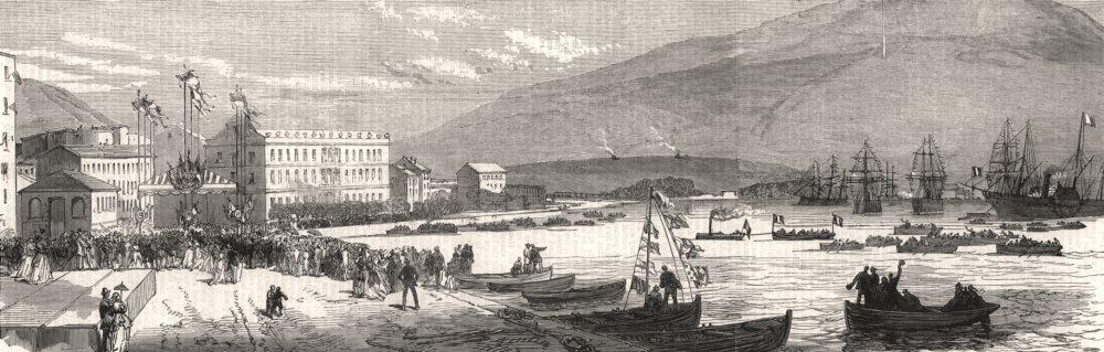 Associate Product The squadron in the harbour of Ajaccio. Corse (Corsica) -du-Sud, old print, 1869