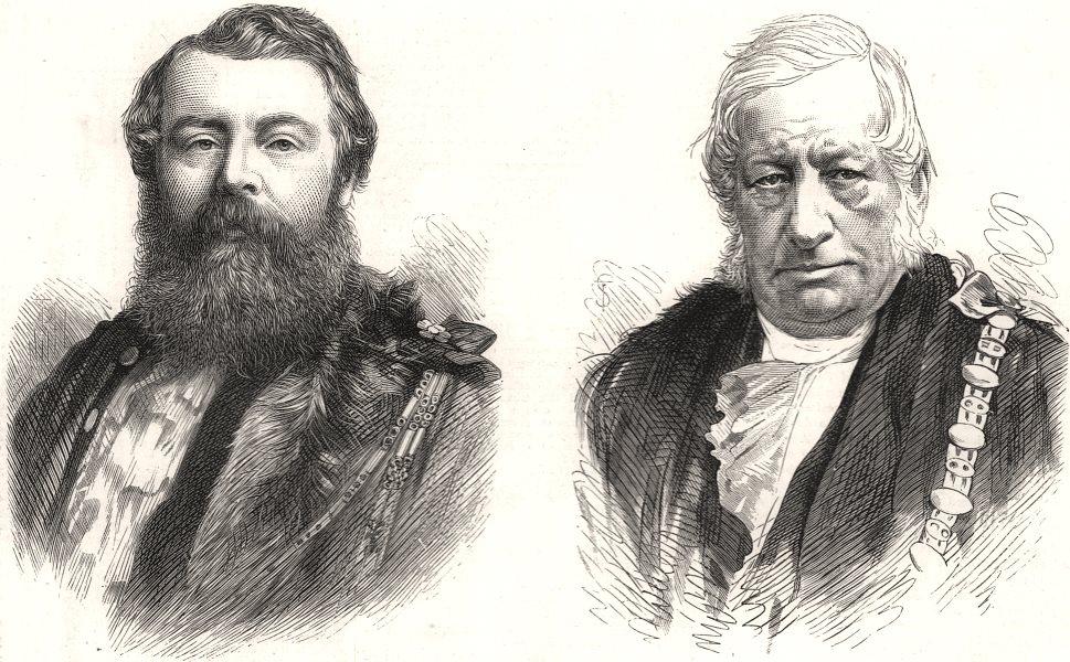Associate Product Sheriffs of London & Middlesex; Alderman Knight; Breffit, antique print, 1875