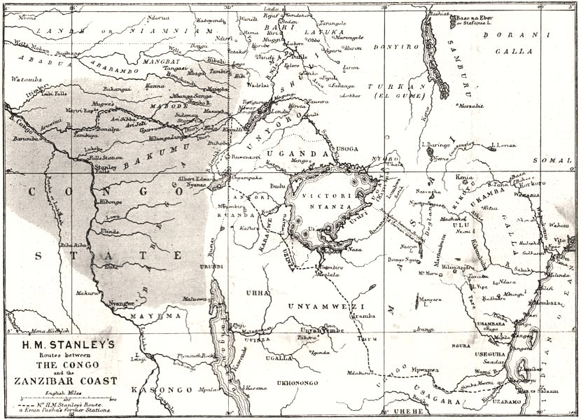 Associate Product Central Africa. Map showing great forest traversed by Mr Stanley, 1890