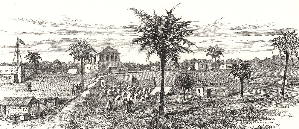 Associate Product Bagamoyo, opposite Zanzibar, with Mr Stanley's camp. Tanzania, old print, 1890